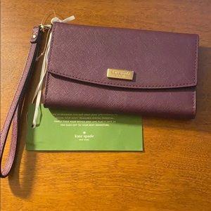 Kate spade burgundy iPhone 11 wristlet wallet new